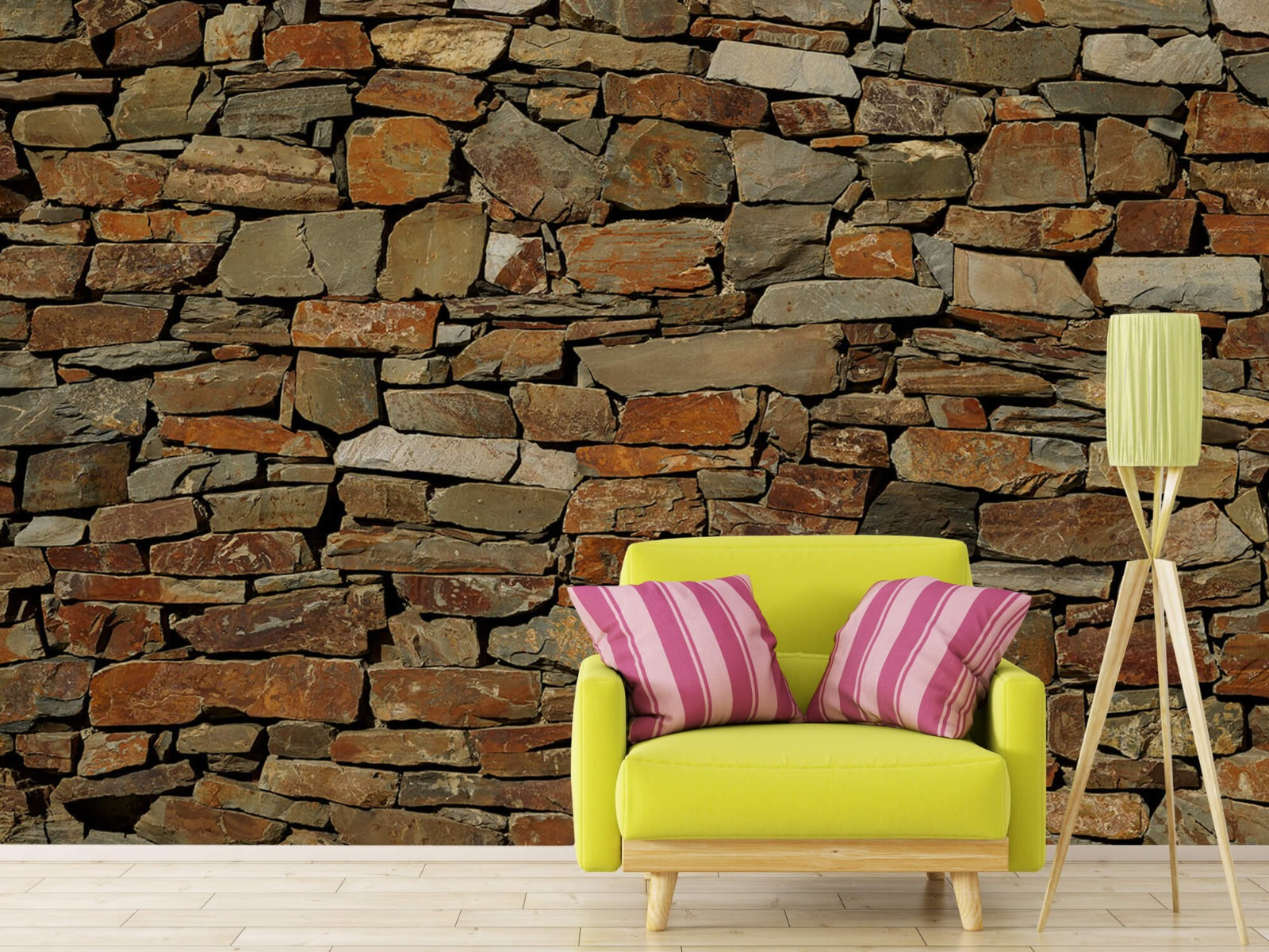 Steen behang - Muur van ongelijke stenen - Slaapkamer 17