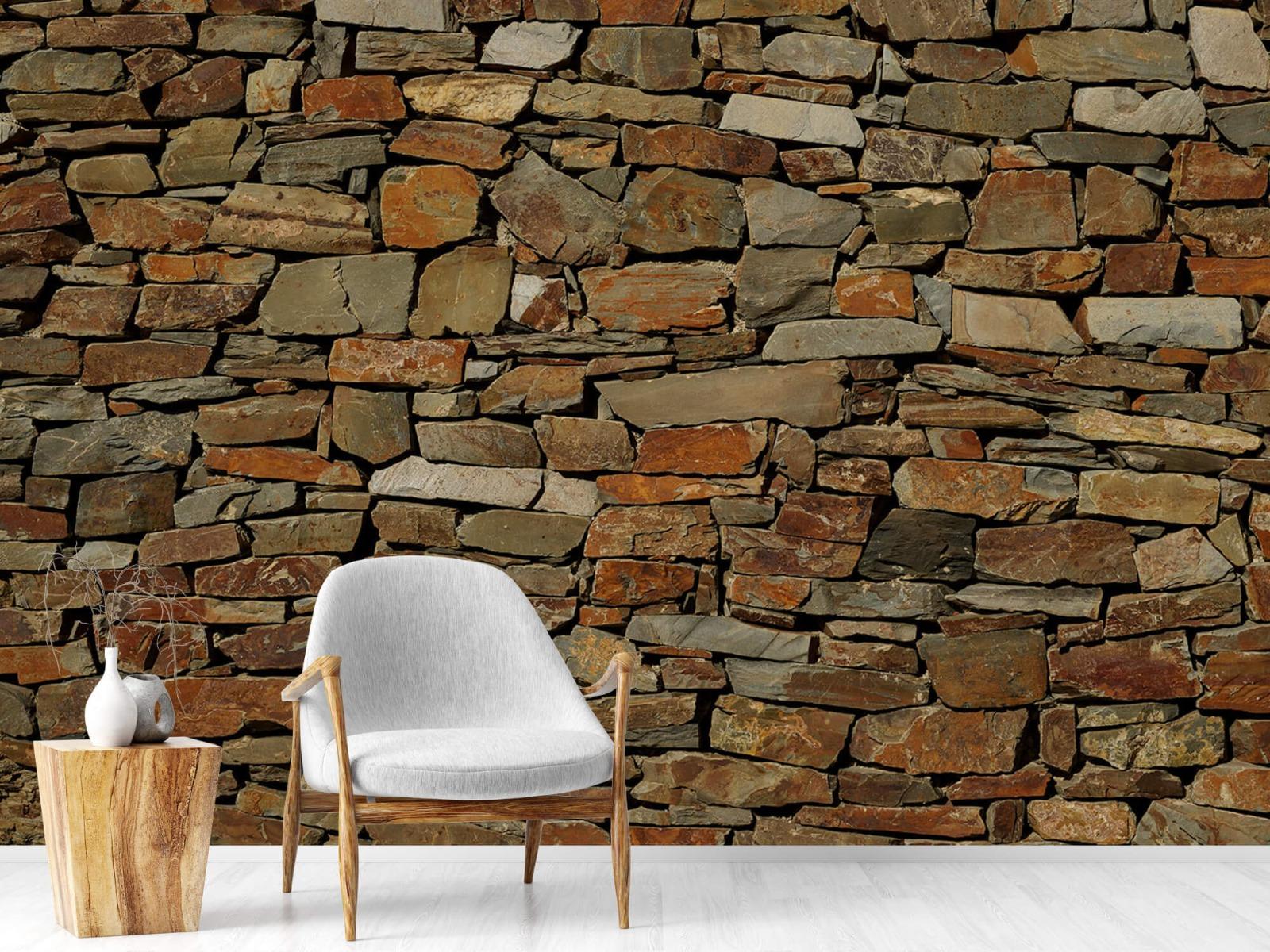 Steen behang - Muur van ongelijke stenen - Slaapkamer 18