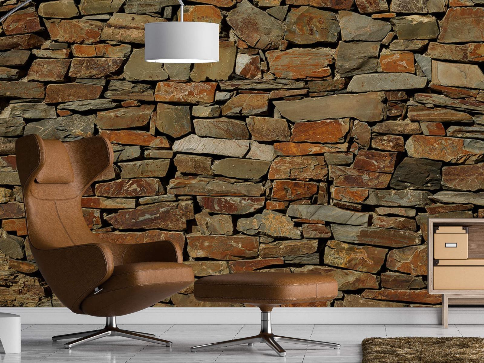 Steen behang - Muur van ongelijke stenen - Slaapkamer 19