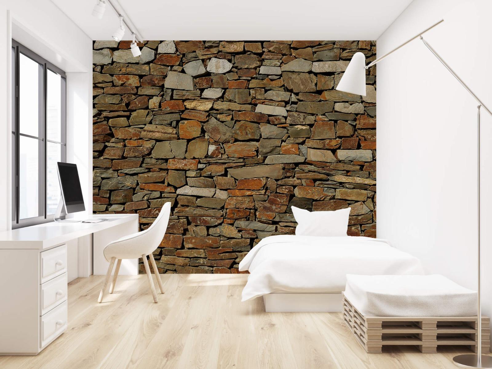 Steen behang - Muur van ongelijke stenen - Slaapkamer 22