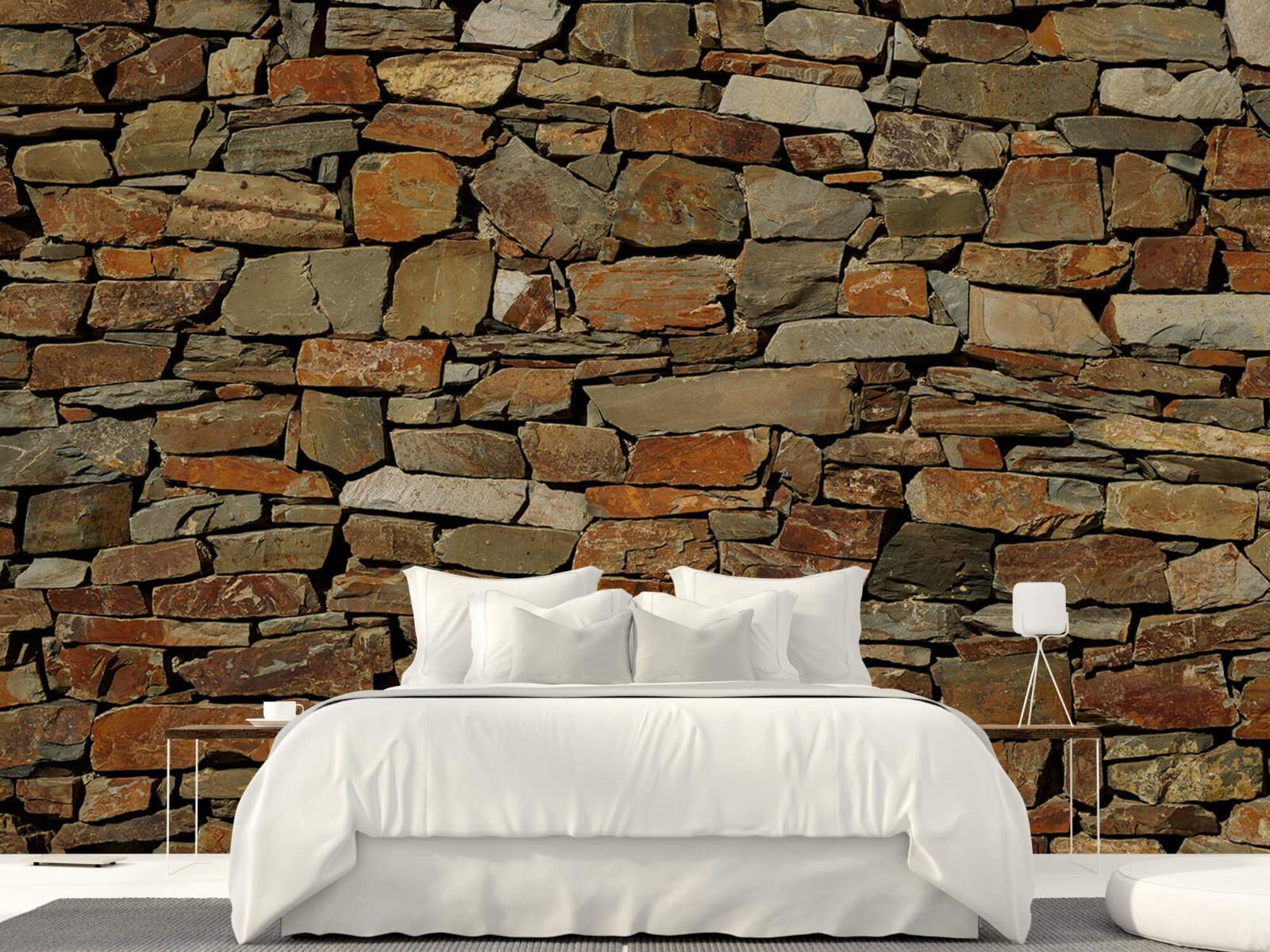 Steen behang - Muur van ongelijke stenen - Slaapkamer 23