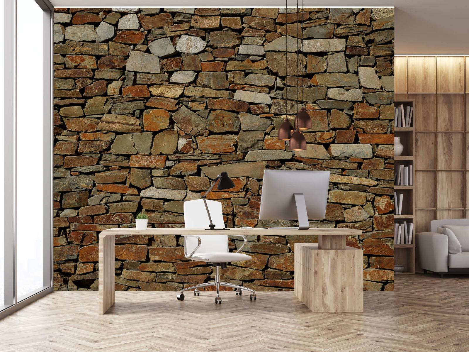 Steen behang - Muur van ongelijke stenen - Slaapkamer 24