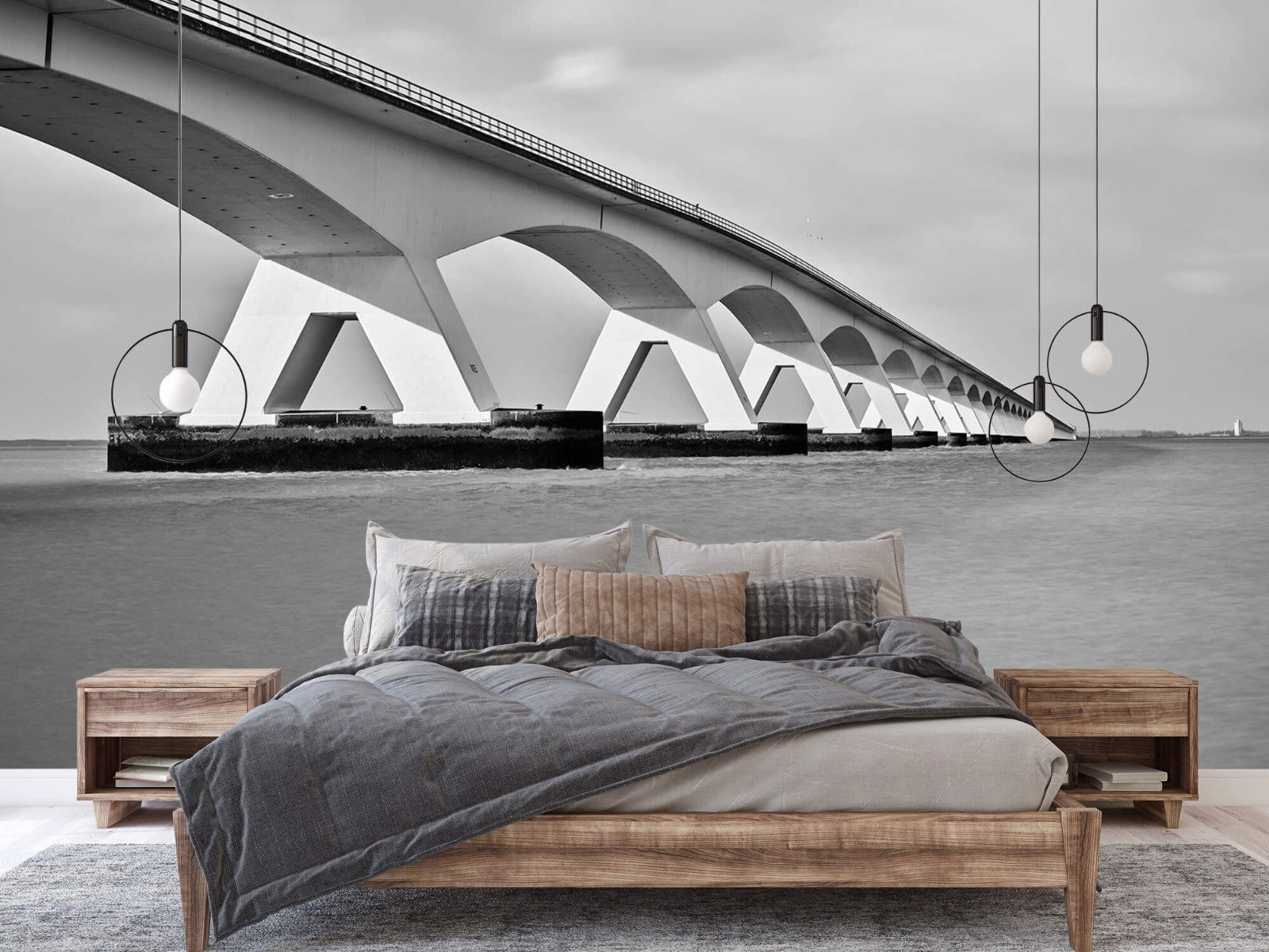 Zwart Wit behang - Lange brug - Kantoor 2
