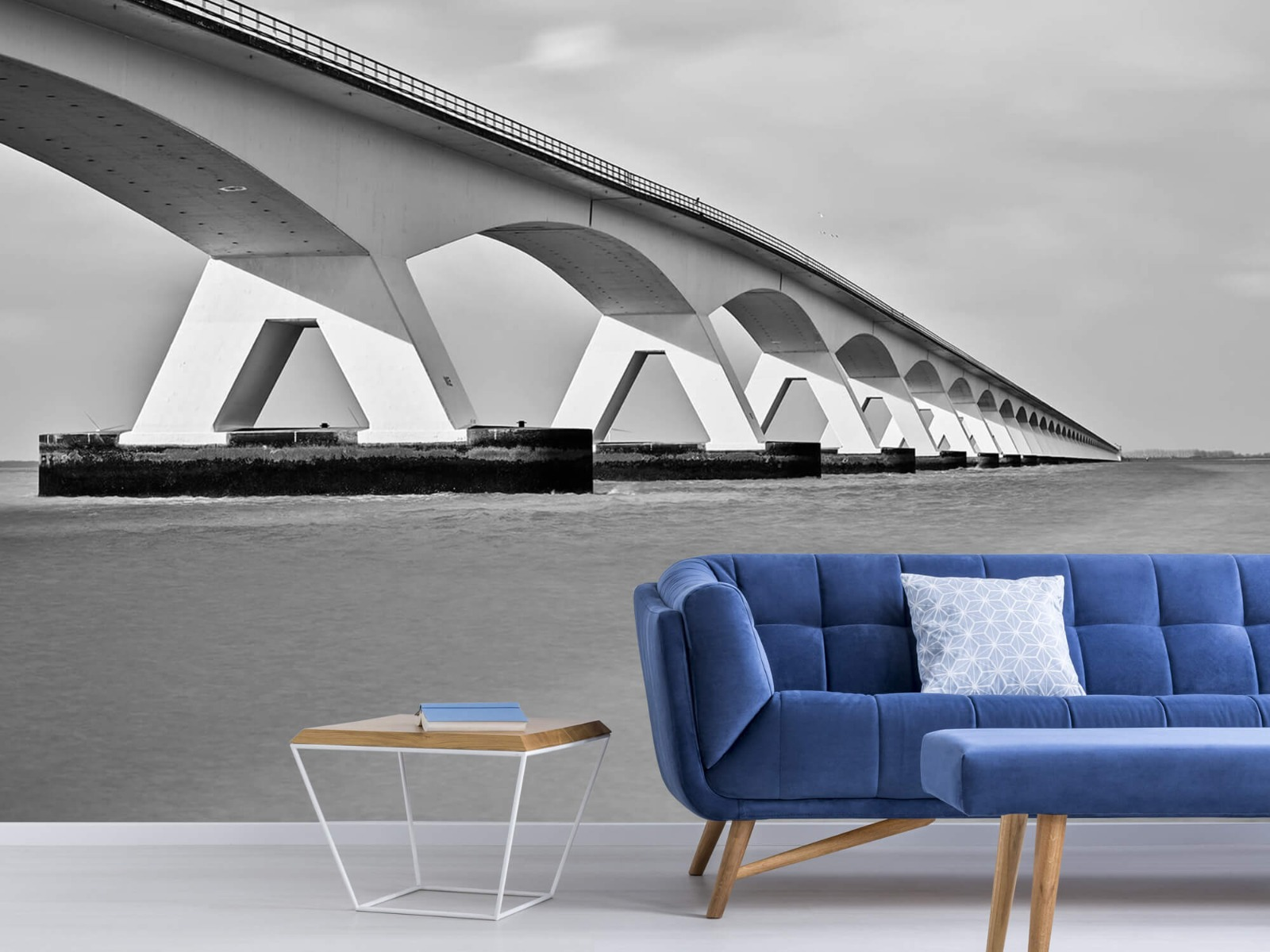 Zwart Wit behang - Lange brug - Kantoor 5