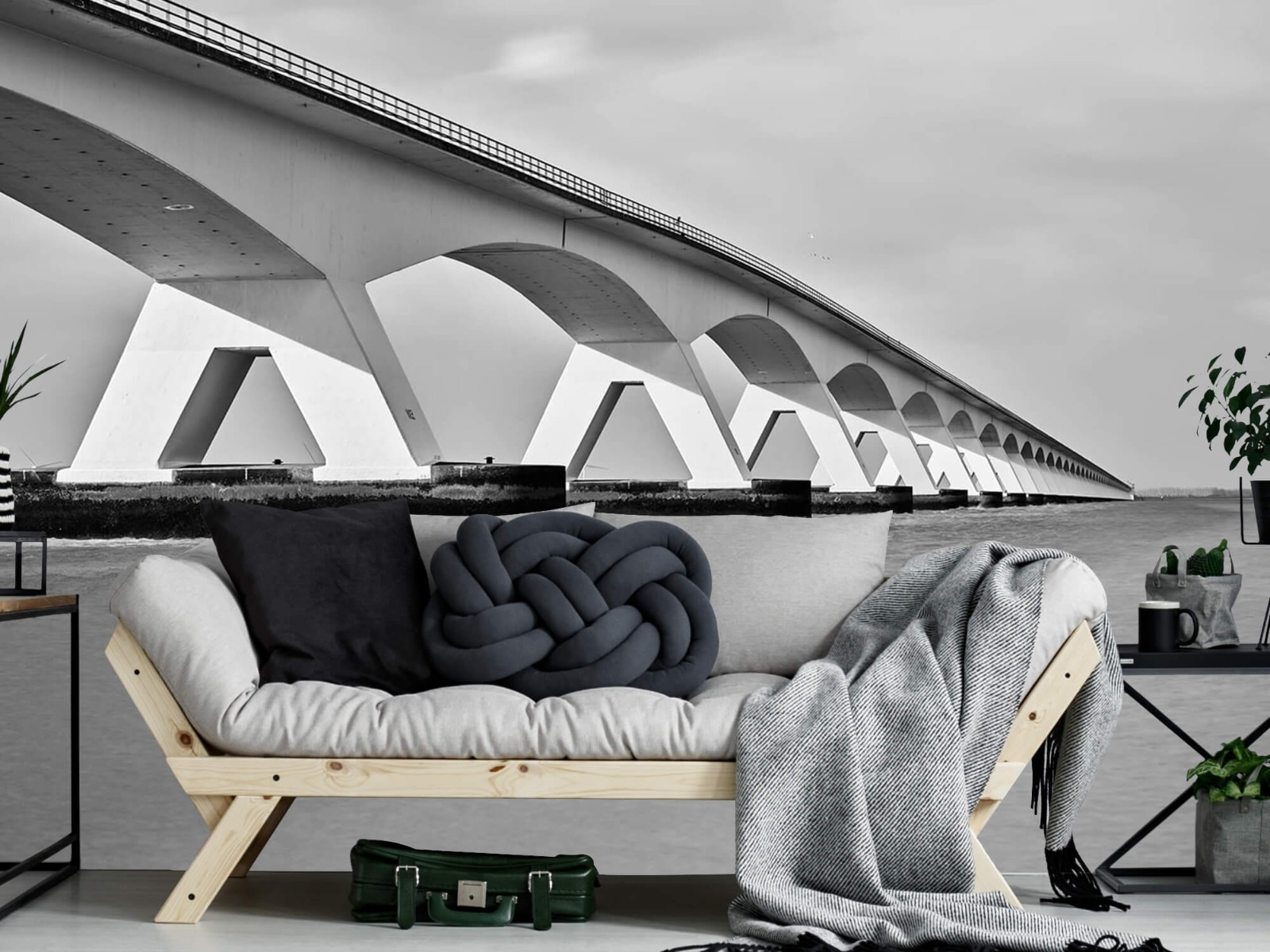 Zwart Wit behang - Lange brug - Kantoor 7