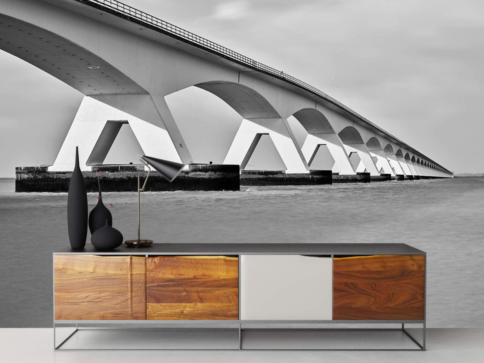 Zwart Wit behang - Lange brug - Kantoor 17
