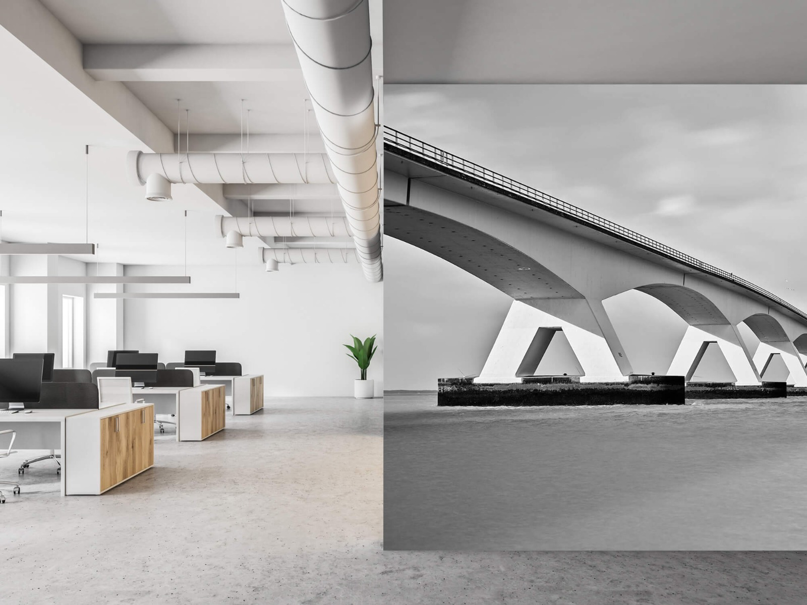 Zwart Wit behang - Lange brug - Kantoor 21