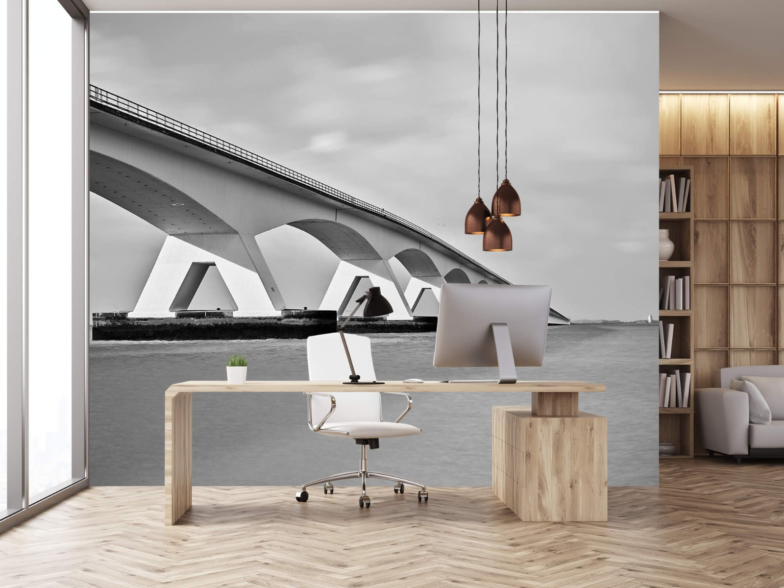 Zwart Wit behang - Lange brug - Kantoor 24