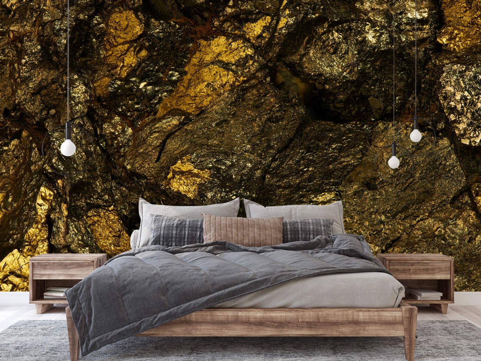 Steen behang - Steen met goud - Slaapkamer 2