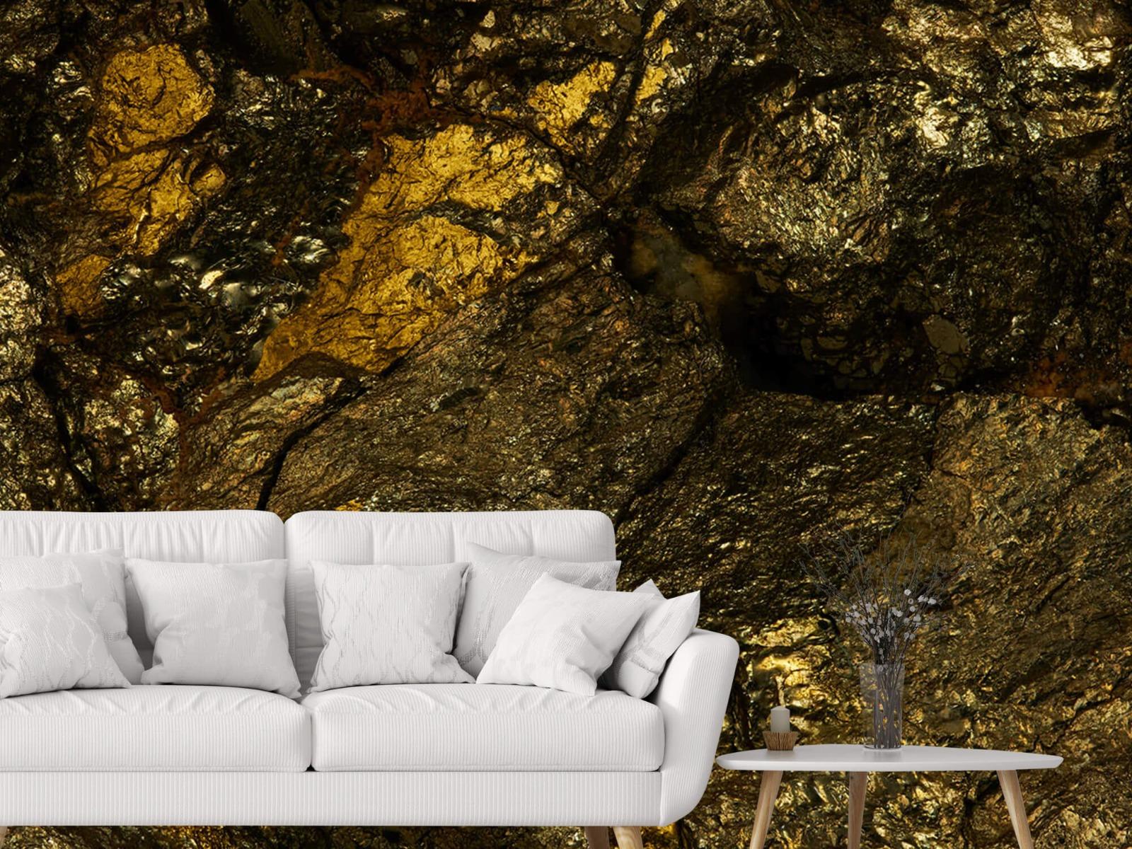 Steen behang - Steen met goud - Slaapkamer 3