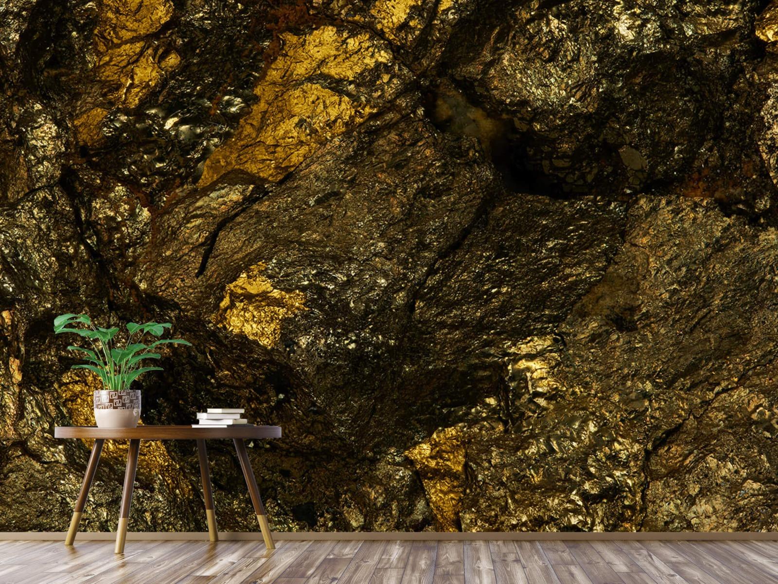 Steen behang - Steen met goud - Slaapkamer 4