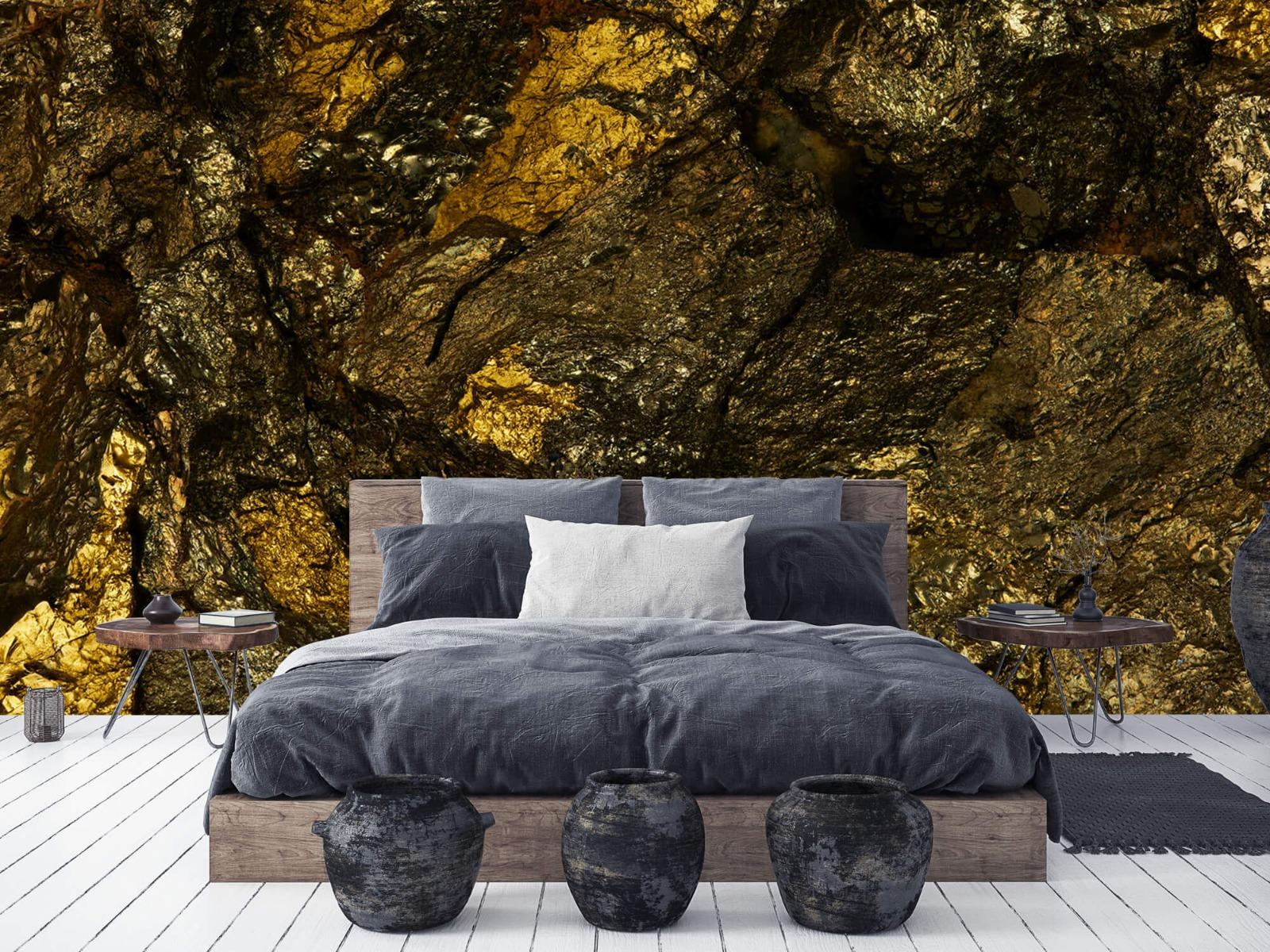 Steen behang - Steen met goud - Slaapkamer 6