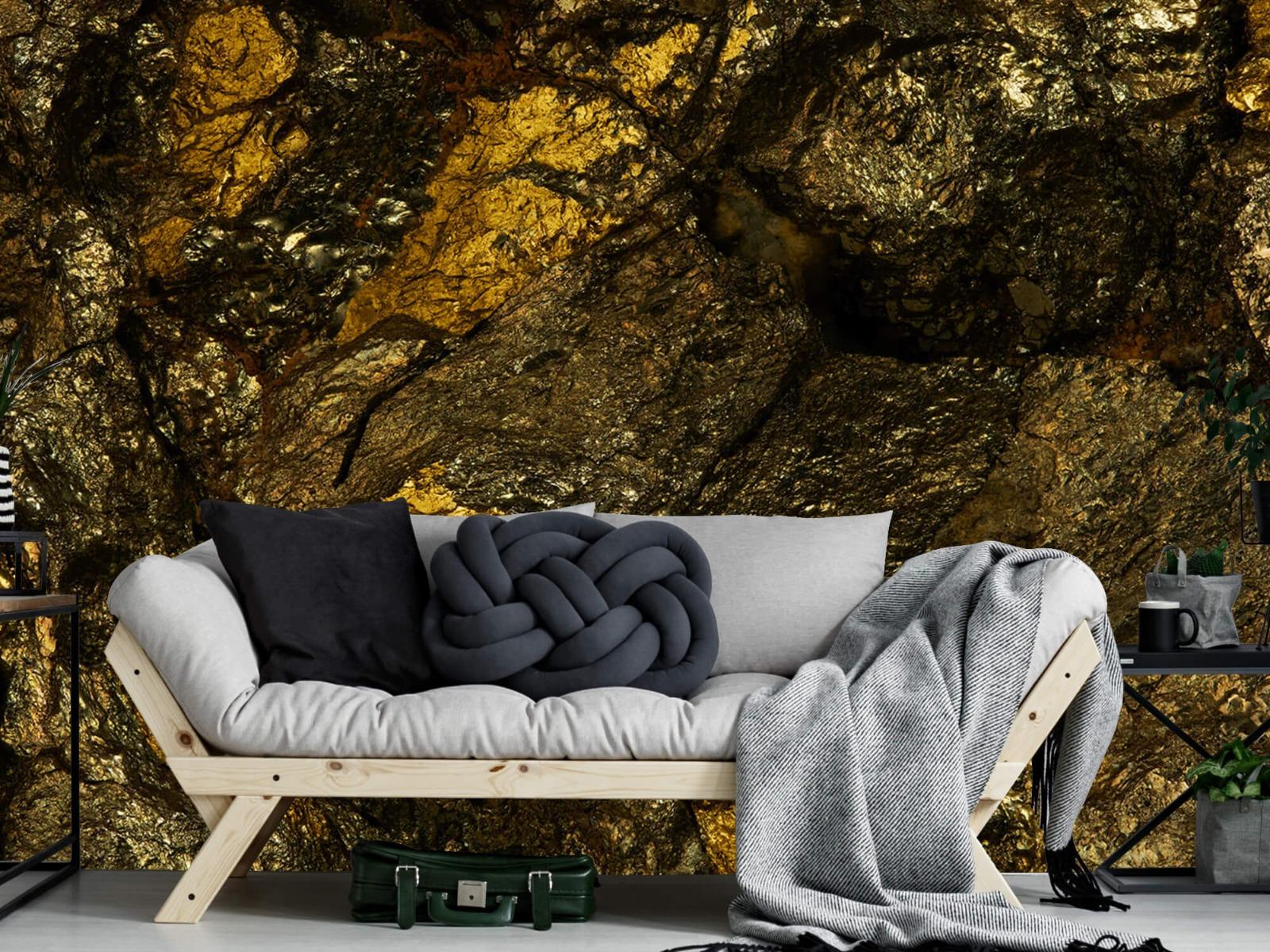 Steen behang - Steen met goud - Slaapkamer 7