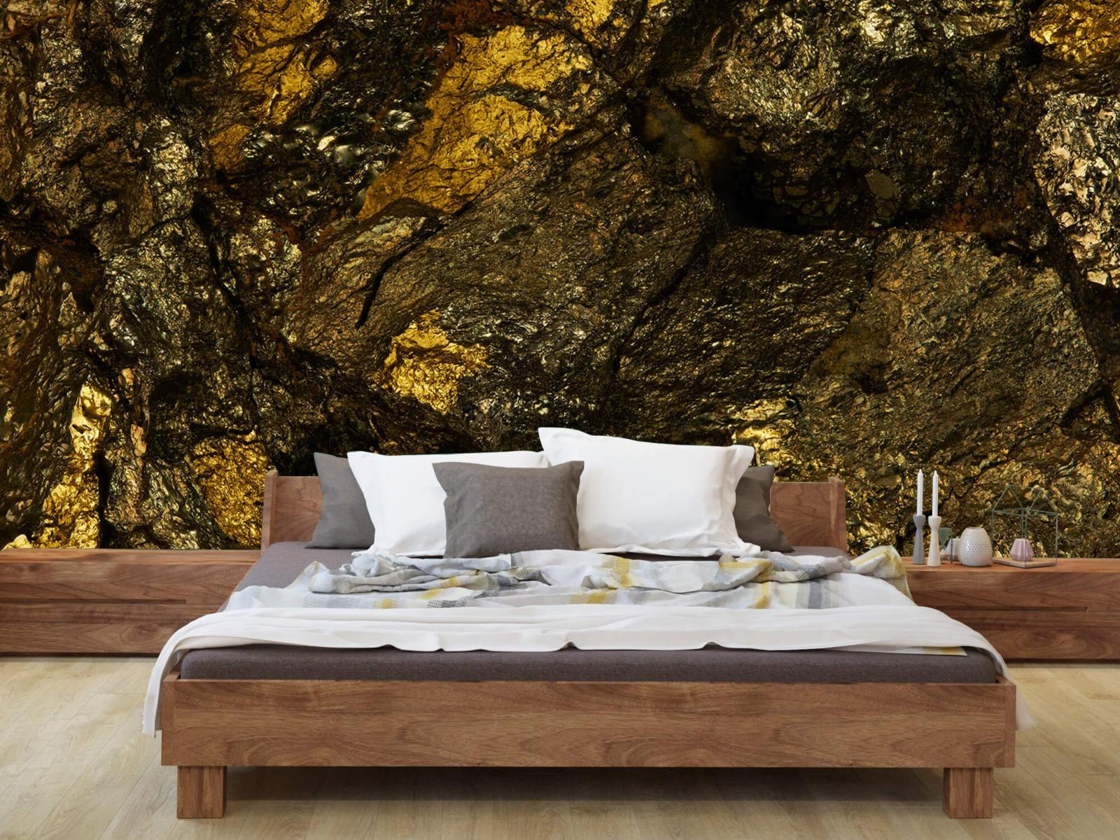 Steen behang - Steen met goud - Slaapkamer 8
