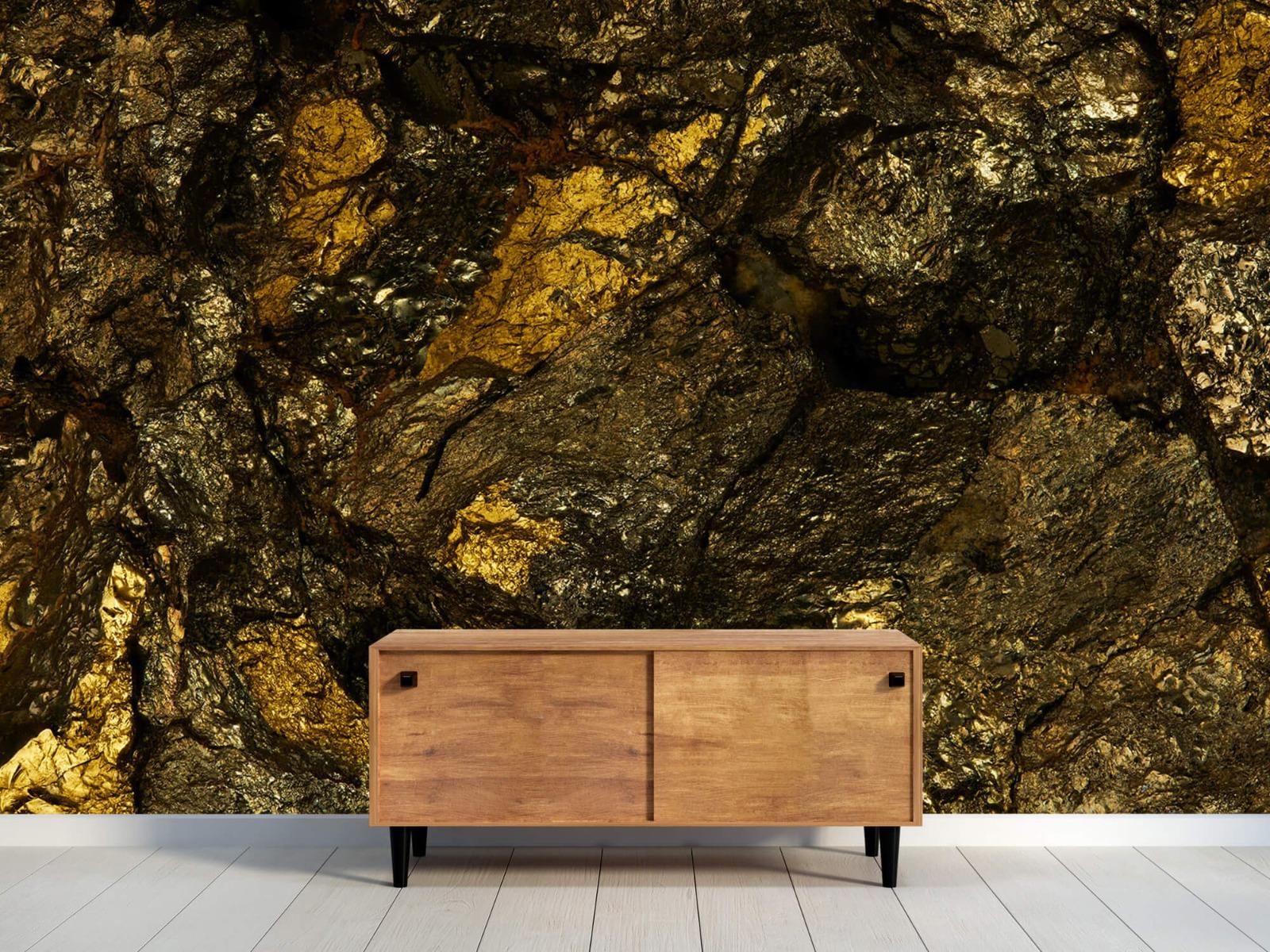 Steen behang - Steen met goud - Slaapkamer 10