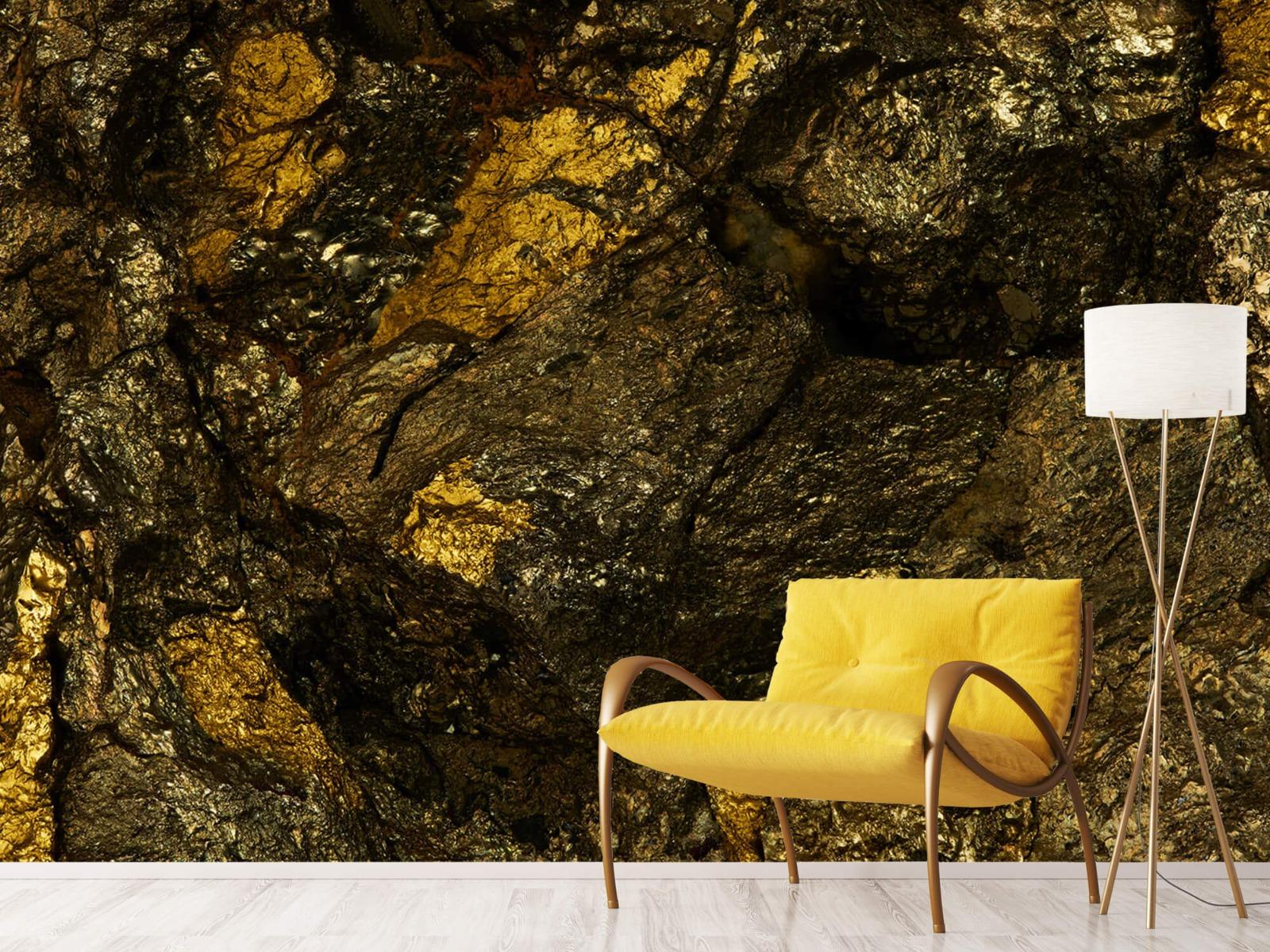 Steen behang - Steen met goud - Slaapkamer 11