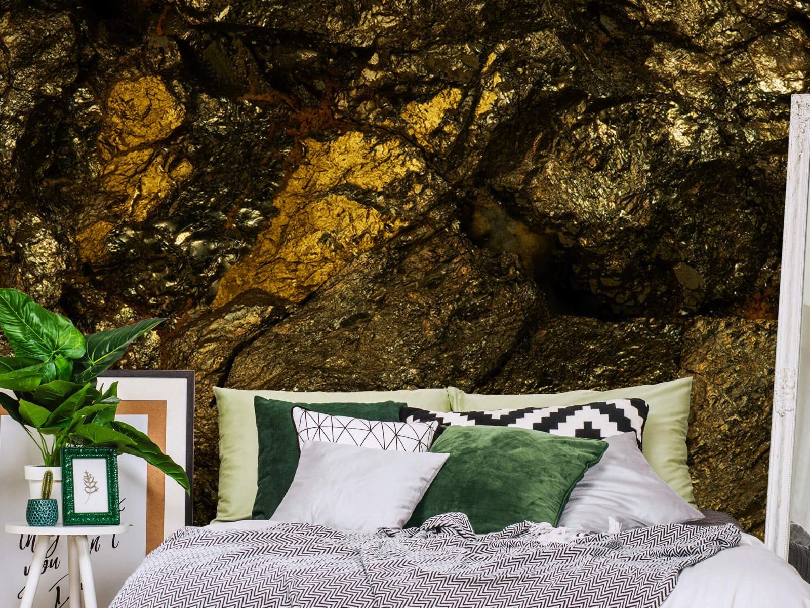 Steen behang - Steen met goud - Slaapkamer 13