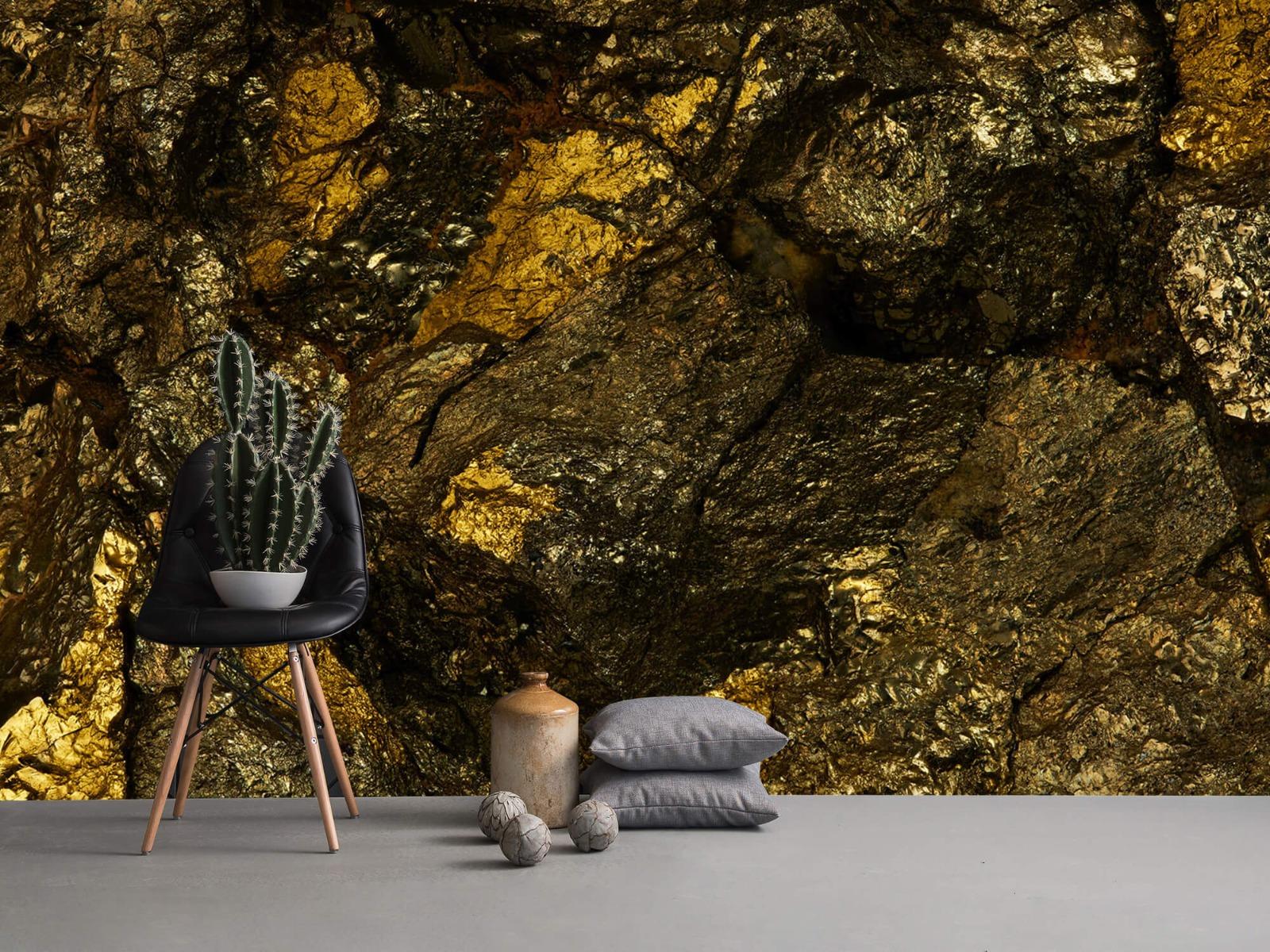 Steen behang - Steen met goud - Slaapkamer 14