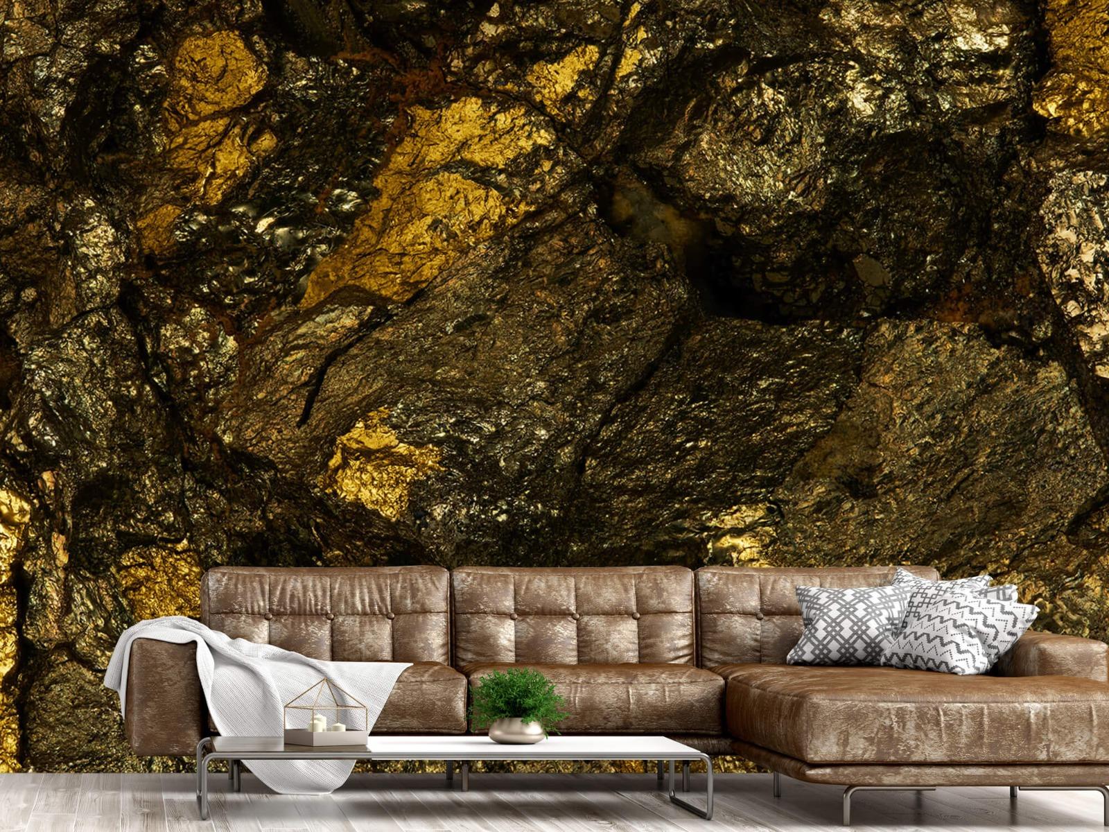 Steen behang - Steen met goud - Slaapkamer 15