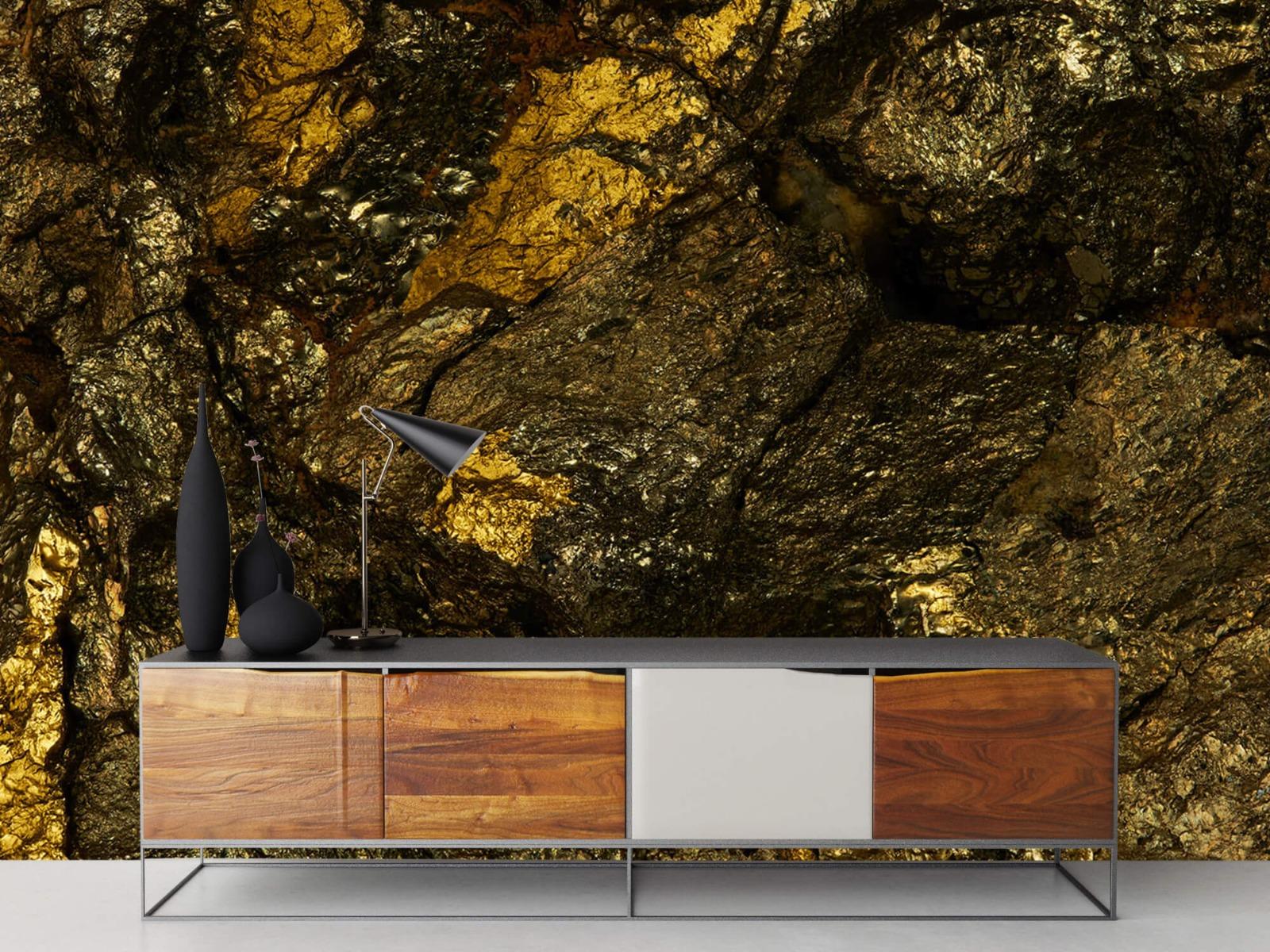 Steen behang - Steen met goud - Slaapkamer 17