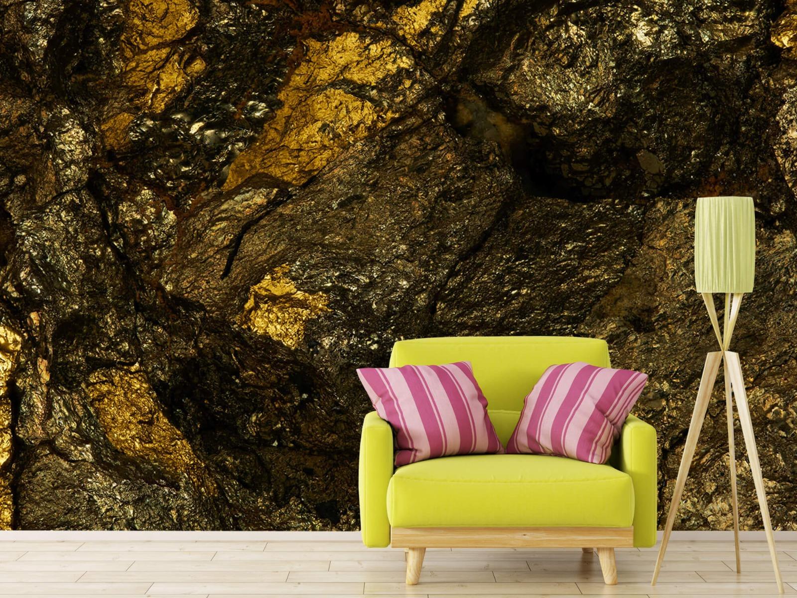 Steen behang - Steen met goud - Slaapkamer 18