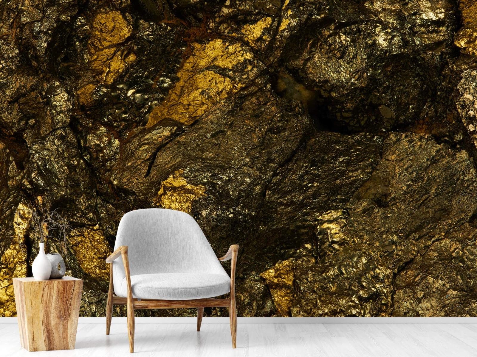 Steen behang - Steen met goud - Slaapkamer 19