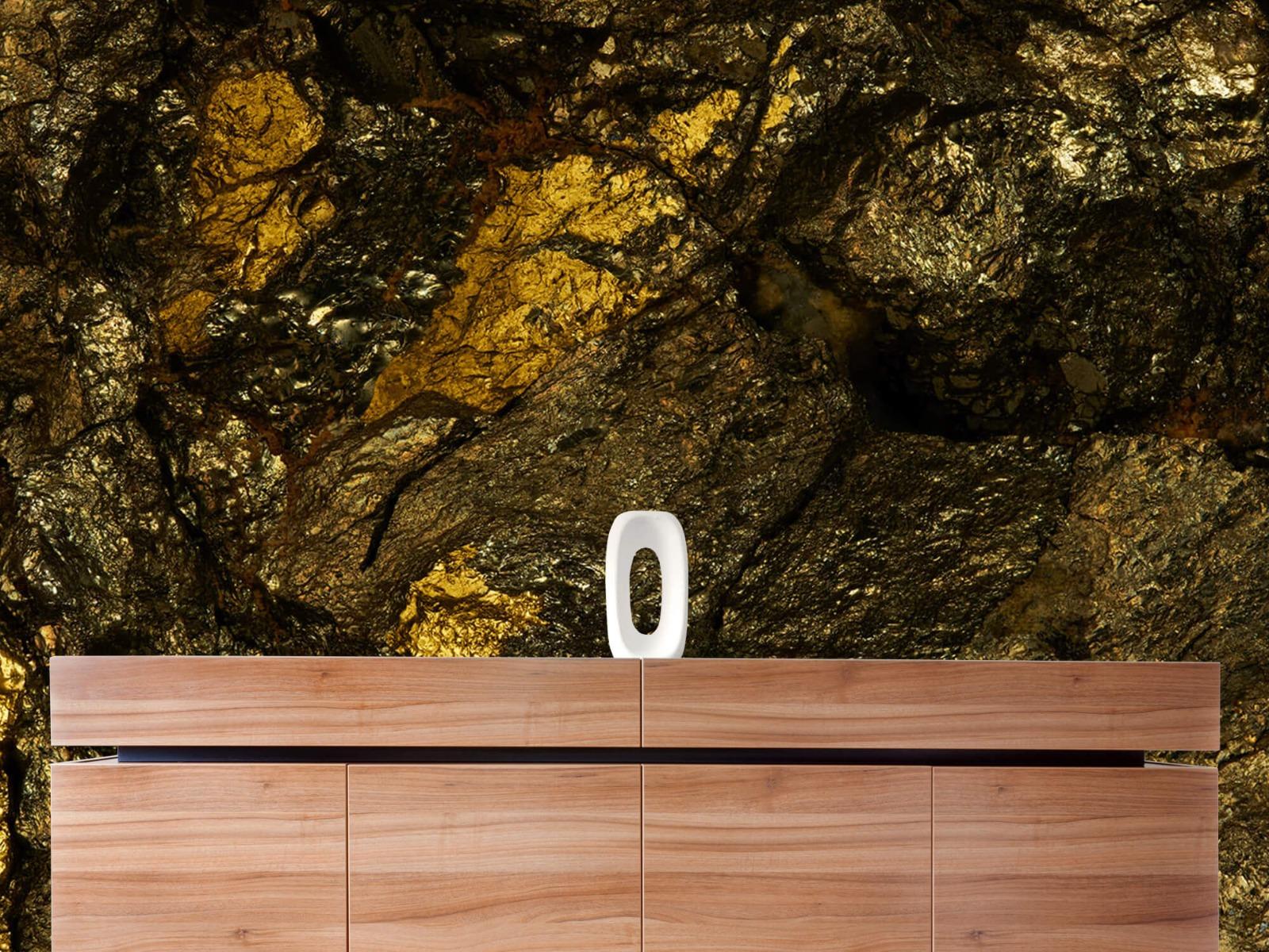 Steen behang - Steen met goud - Slaapkamer 21