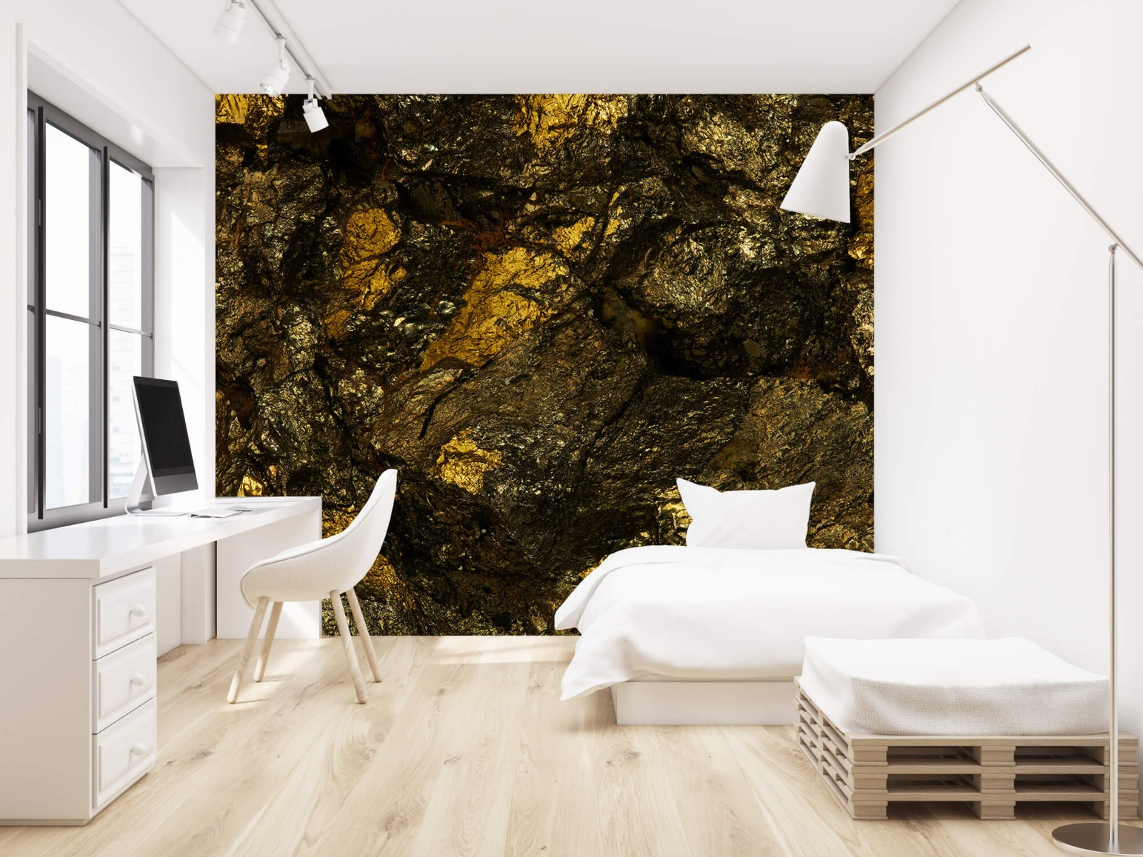 Steen behang - Steen met goud - Slaapkamer 23