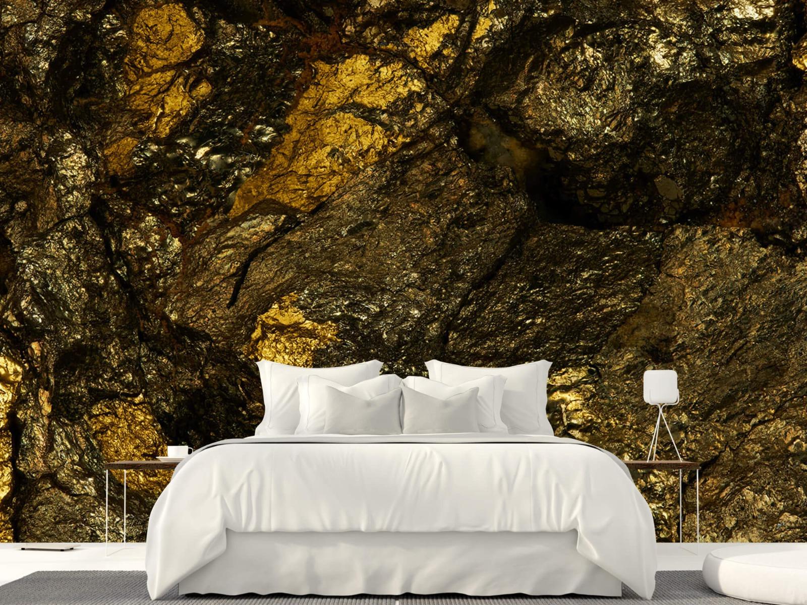 Steen behang - Steen met goud - Slaapkamer 24
