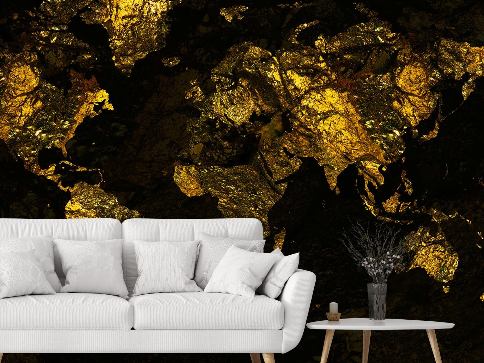 Steen behang - Wereldkaart goud - Directie 3