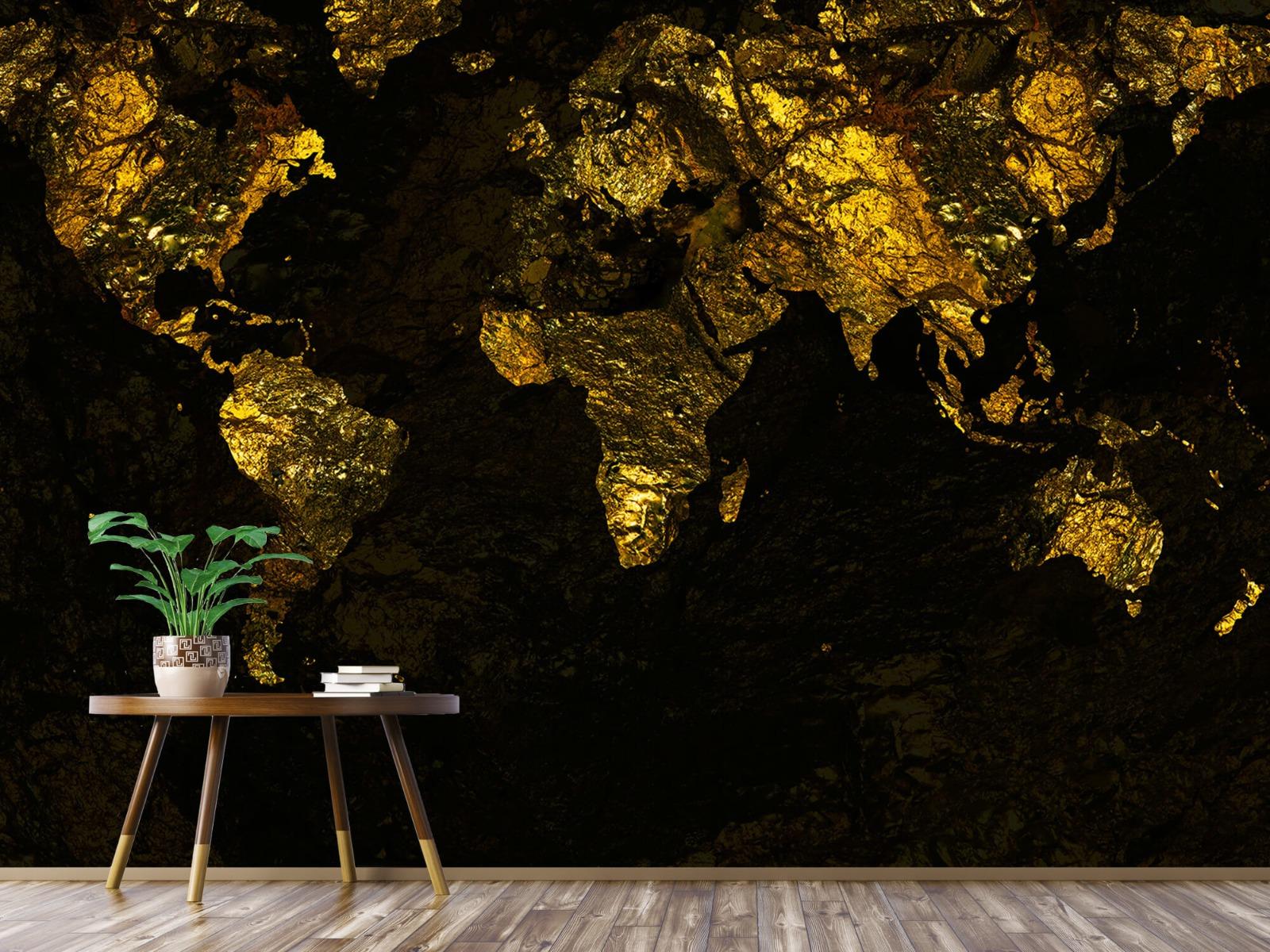 Steen behang - Wereldkaart goud - Directie 4
