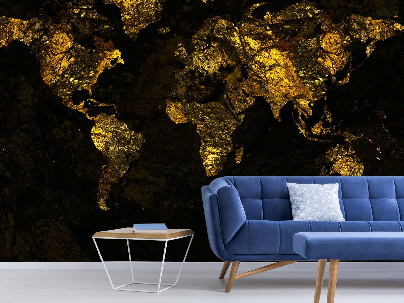 Steen behang - Wereldkaart goud - Directie 5