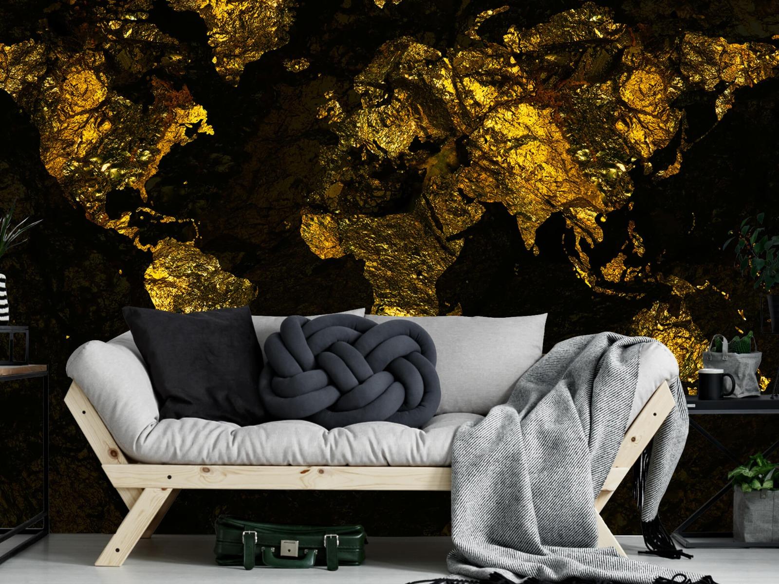 Steen behang - Wereldkaart goud - Directie 6