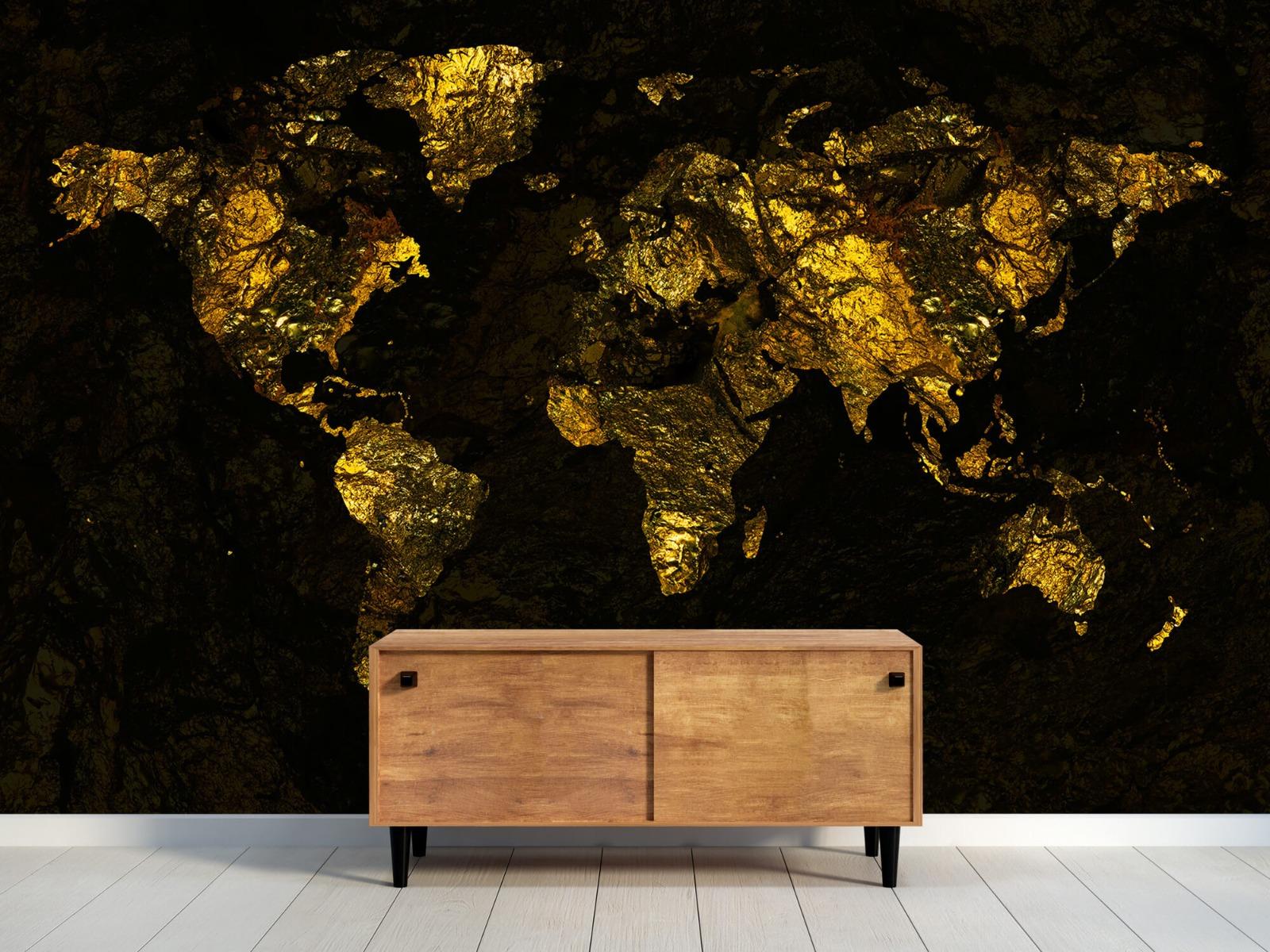 Steen behang - Wereldkaart goud - Directie 9