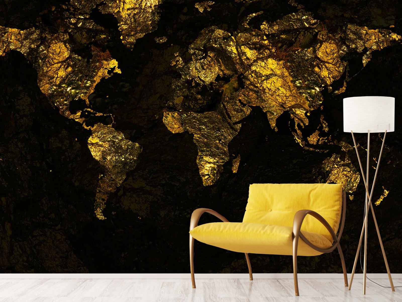 Steen behang - Wereldkaart goud - Directie 10