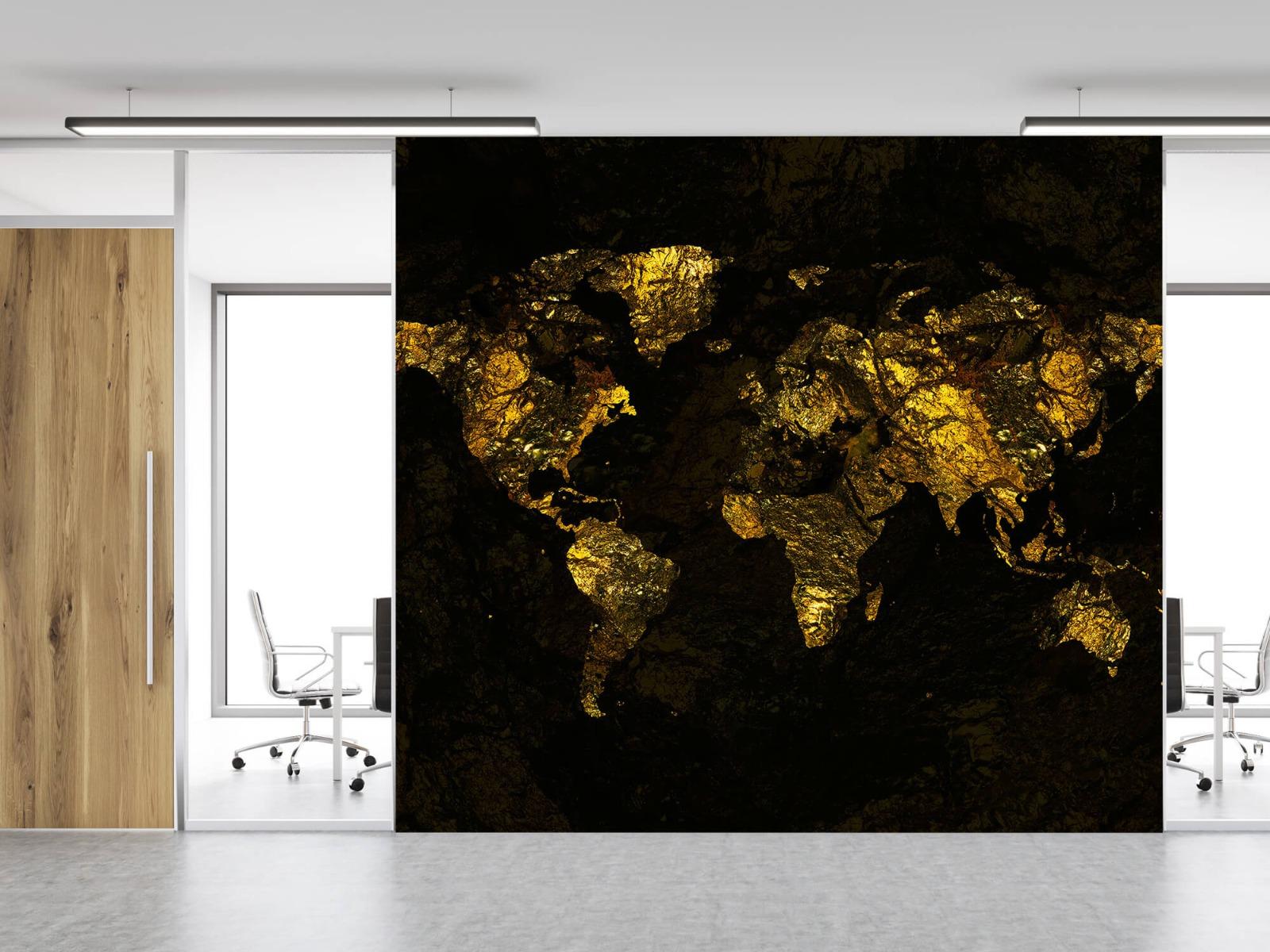 Steen behang - Wereldkaart goud - Directie 11