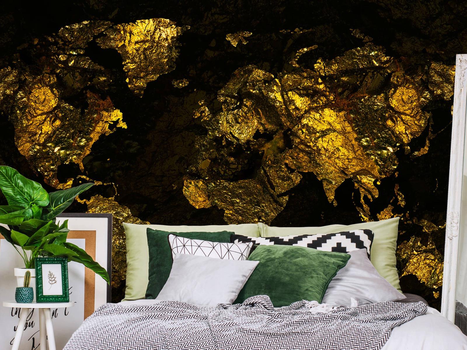 Steen behang - Wereldkaart goud - Directie 12