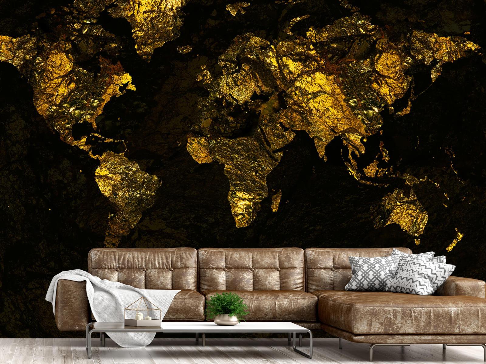 Steen behang - Wereldkaart goud - Directie 14