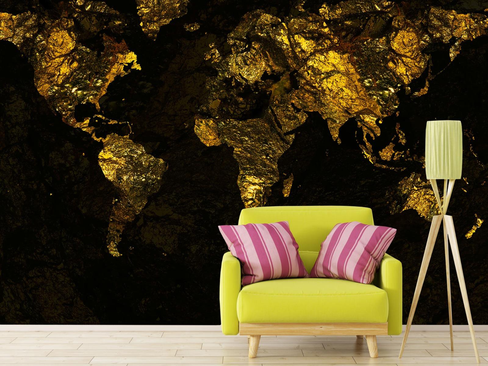 Steen behang - Wereldkaart goud - Directie 17