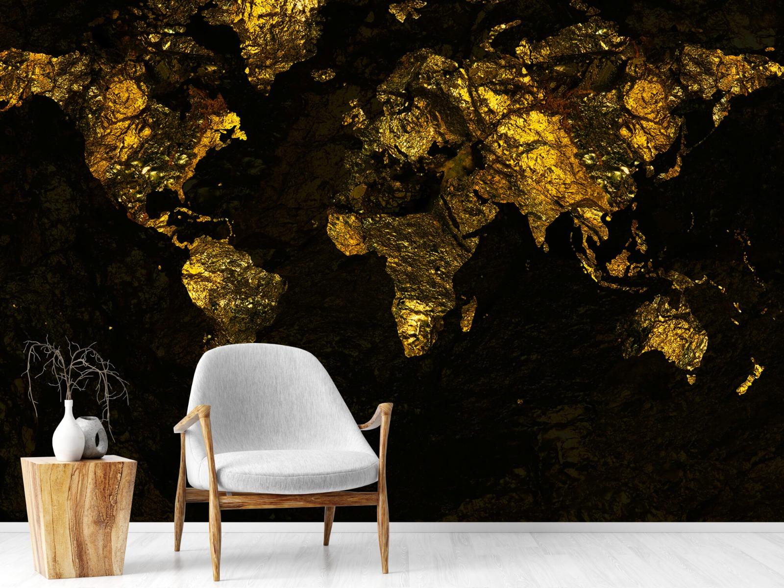 Steen behang - Wereldkaart goud - Directie 18