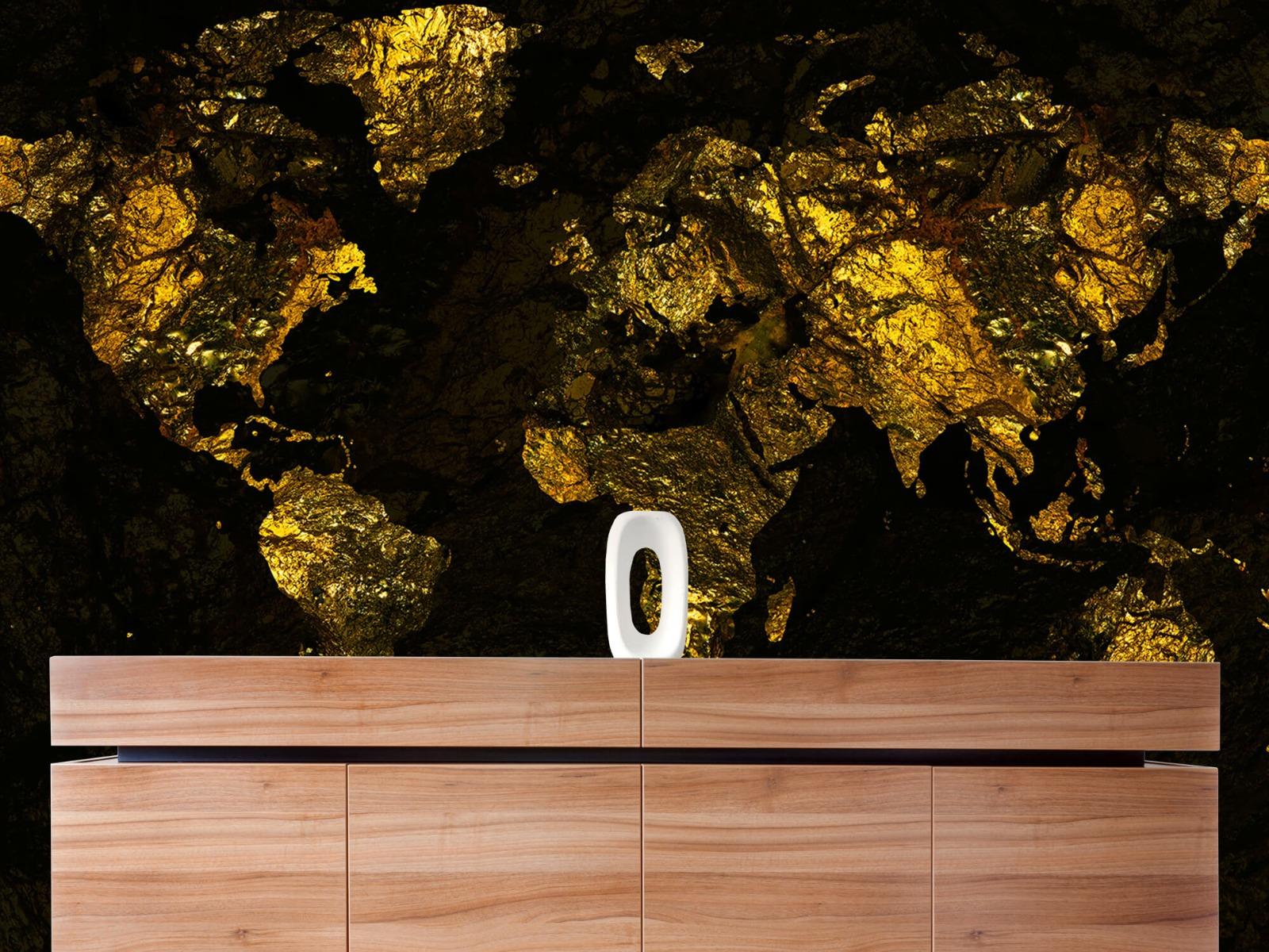 Steen behang - Wereldkaart goud - Directie 20