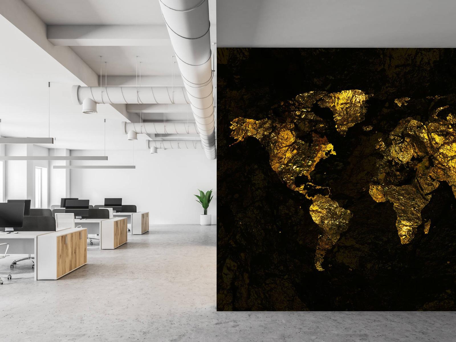 Steen behang - Wereldkaart goud - Directie 21