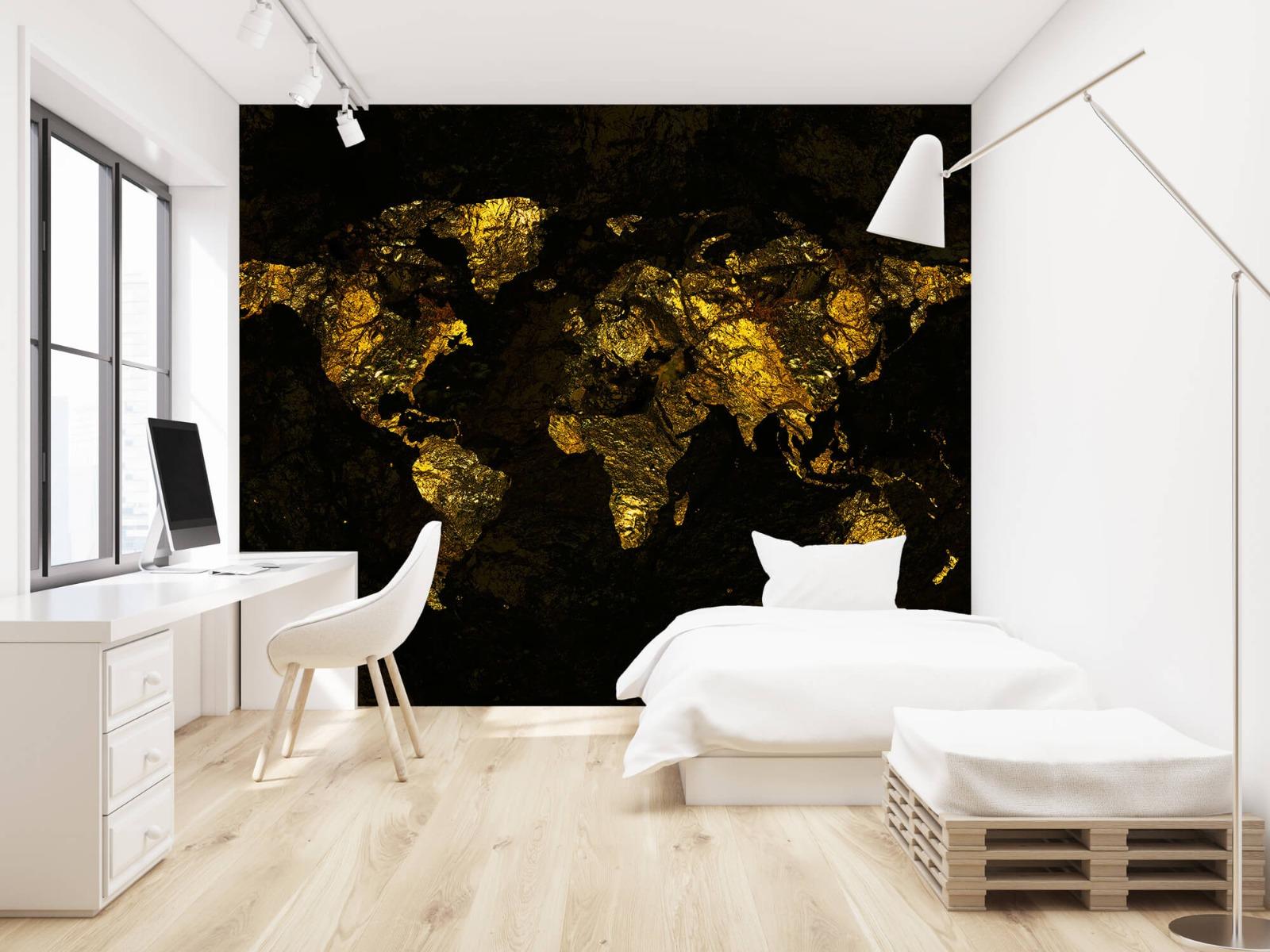 Steen behang - Wereldkaart goud - Directie 22