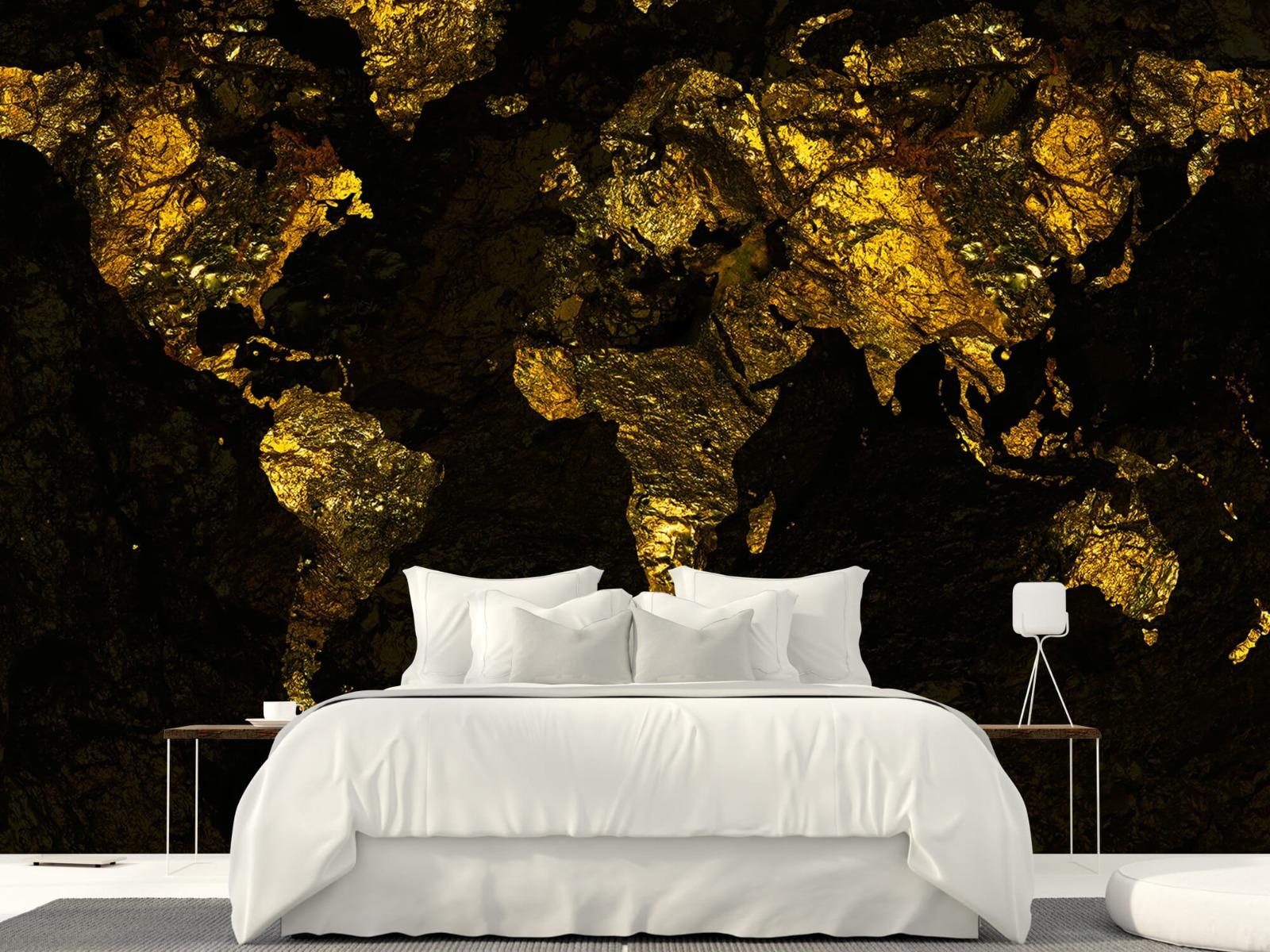Steen behang - Wereldkaart goud - Directie 23