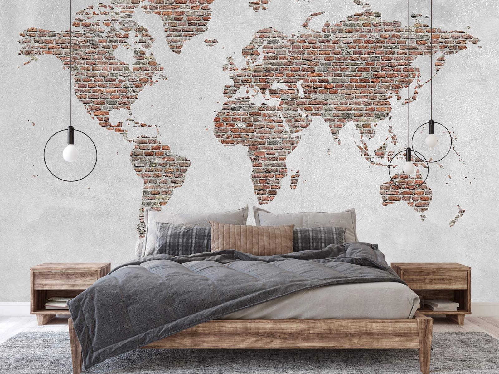 Steen behang - Wereldkaart stenen - Slaapkamer 1