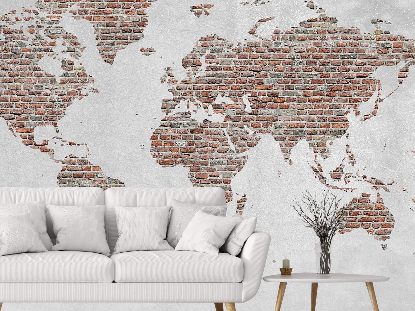 Steen behang - Wereldkaart stenen - Slaapkamer 2