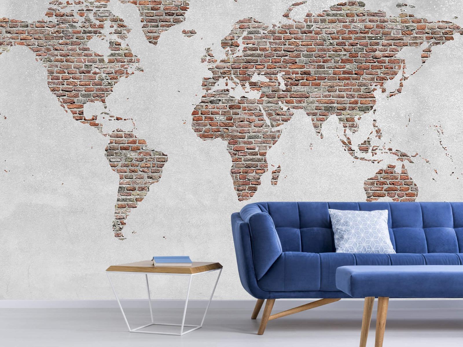 Steen behang - Wereldkaart stenen - Slaapkamer 4