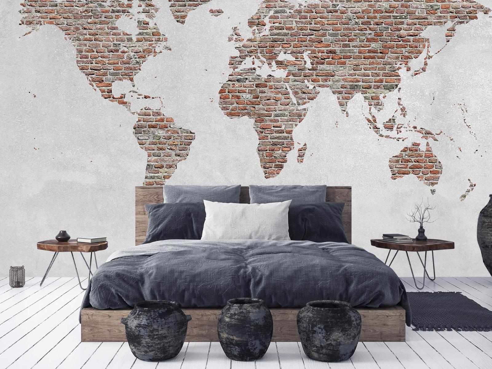Steen behang - Wereldkaart stenen - Slaapkamer 5
