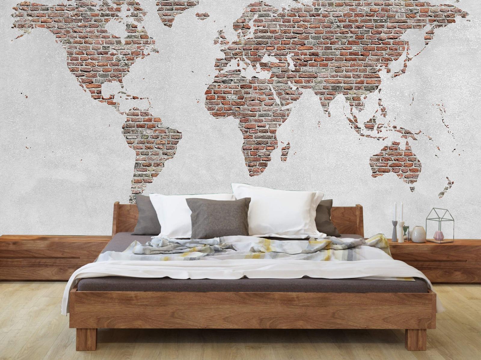 Steen behang - Wereldkaart stenen - Slaapkamer 7
