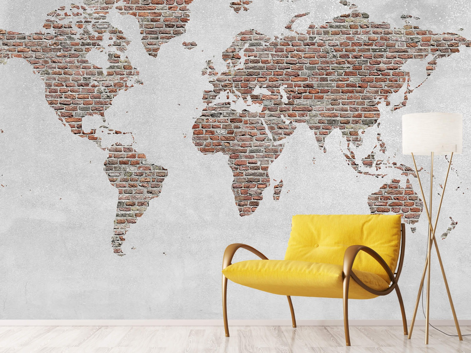 Steen behang - Wereldkaart stenen - Slaapkamer 10